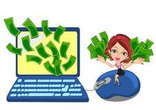 Haciendo el dinero en línea Imagen de archivo libre de regalías
