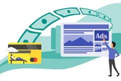 Haciendo el dinero por todas partes de los anuncios ilustración del vector