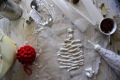 Haciendo la Navidad blanca los merengues dulces con la granada Fotos de archivo libres de regalías