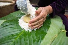 Haciendo que Chungkin se apelmaza por el primer femenino del artesano Comida vietnamita tradicional de Tet del Año Nuevo Imagen de archivo