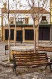 Haciendo turismo en Korca, Albania, bazar viejo del otomano Fotografía de archivo