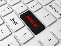 Hack  button on keyboard Royalty Free Stock Images