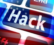 Hack Computer Key Showing Hacking 3d Illustration royalty free illustration
