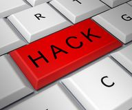Hack Computer Red Key Shows Hacking 3d Illustration. Hack Computer Red Key Showing Hacking 3d Illustration Royalty Free Stock Image