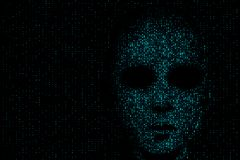 Hack and data concept. Hacker face on abstract dark binary code background. 3D Rendering royalty free illustration