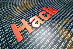 Hack. Ing and digital code. 3D illustration Royalty Free Stock Images