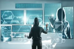 Hack and malware concept. Hacker using abstract laptop with binary code digital interface. Double exposure stock photo