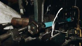Hack sawing machine working to cutting a metal Stock Image