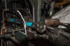 Hack sawing machine working to cutting a metal Royalty Free Stock Images