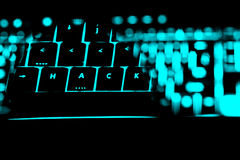 Hack text on the illuminated buttons of the keyboard Royalty Free Stock Photo