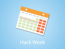 Hack week illustration with calendar and marking with blue background Royalty Free Stock Photo