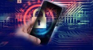 Hacka mobila enheter av en hacker Dataskydd i molnet royaltyfri fotografi