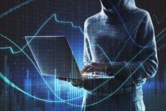 Hacka och handelbegrepp arkivfoto
