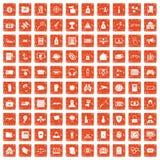 100 hacka symboler ställde in grunge orange Arkivfoto