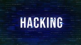 Hacka - tekniskt felmodeord med binärt i bakgrunden stock illustrationer