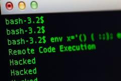Hackad server via shellshockbedrift Fotografering för Bildbyråer