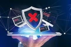 Hackat sköldsymbol som omges av apparater, och visat nätverk royaltyfri fotografi