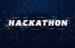 Hackathon背景 文丐马拉松编制程序事件、小故障海报和饱和的二进制数据代码涨潮传染媒介背景 向量例证