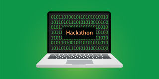 Hackathon concept illustration with laptop and text on screen with binary code. 0 and 1 programming vector Stock Photo