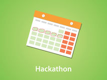 Hackathon icon symbol illustration with calendar and marking with green background Royalty Free Stock Photos