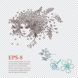 Hackberry Girl. Female portrait with floral hairstyle for your design, vector illustration Stock Images