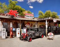 Hackberry historiska Route 66, Arizona Arkivbild