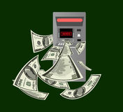 Hacked ATM. Hacked by hackers ATM throws money royalty free illustration