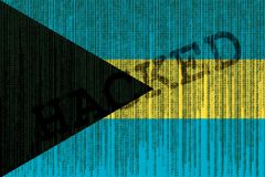 Hacked Bahamas flag. Bahamas flag with binary code. Royalty Free Stock Photo