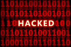 Hacked. Code , for internet,protection,security themes Royalty Free Stock Image