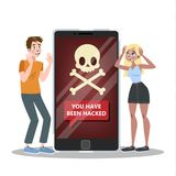 Hacked mobile phone. Virus attack on smartphone . royalty free illustration