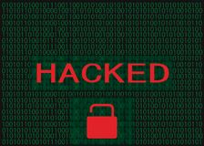Hacked with open Lock, Green Abstract Digital Background stock photos