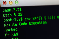Hacked server via shellshock exploit Stock Image