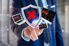 Hacked shield symbol surrounded by devices and network displayed Royalty Free Stock Photo