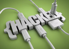 Hacked title with data cables plugged in to it. 3D title of the word hacked has usb and data cables plugged into it extracting information. Concept for internet royalty free stock images