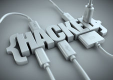 Hacked title with data cables plugged in to it. 3D title of the word hacked has usb and data cables plugged into it extracting information. Concept for internet royalty free stock image