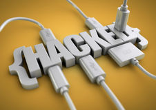 Hacked title with data cables plugged in to it. 3D title of the word hacked has usb and data cables plugged into it extracting information. Concept for internet stock image