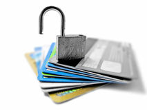 Hacked and vulnerable unsafe unsecured identity and financial theft concept.  royalty free stock images