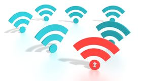Hacked wifi network WPA 2 vulnerability concept Stock Photos