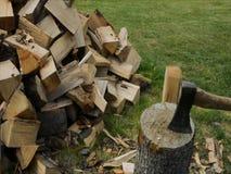 Hacken des Holzes auf dem Block stock video footage
