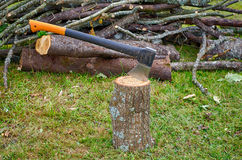 Hacken des Holzes Herbst Stockfotos