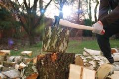 Hacken des Holzes mit Axt lizenzfreies stockbild