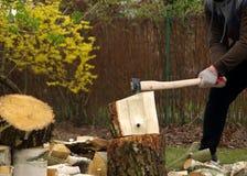 Hacken des Holzes mit Axt lizenzfreies stockfoto
