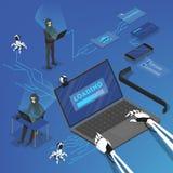 Hackerów szturmowi osobiści dane w internecie ilustracji