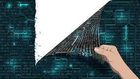 Hacker łama abstrakcjonistycznego system komputerowego, sieci antivirus parawanowe łzy binarnego szyka matrycowa cyberprzestrzeń, ilustracji
