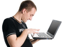 Hacker. Young hacker thinking about system security royalty free stock photography