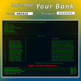 Hacker. Hacking bank login page  using a console Stock Photo