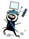 Hacker. A humorous illustration of a man dressed like a ninja and running away with a computer Royalty Free Stock Image