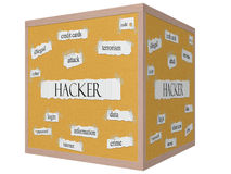 Hacker on a 3D cube Corkboard Word Concept Royalty Free Stock Images