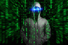 Hacker. Abstract photo with matrix code an a man royalty free stock photos