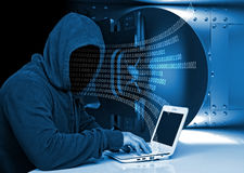 Hacker in action Stock Image